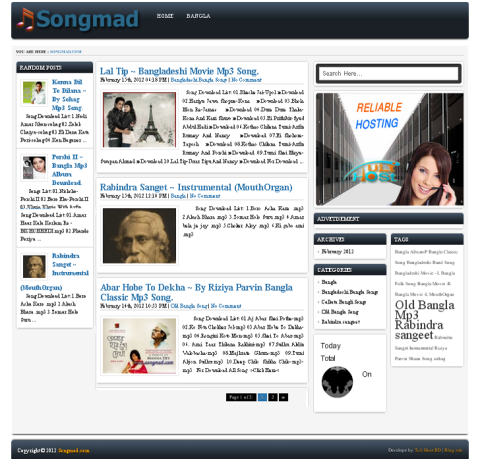 Wordpress Web Design for the Bangladeshi Blogging site songsmad.com