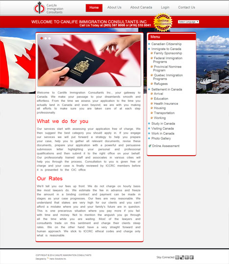 Wordpress Web Development and content entry for the Canadian Immigration Service CANLIFE IMMIGRATION CONSULTANTS INC