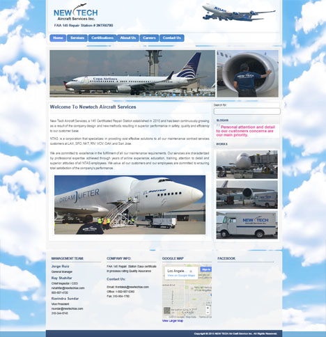 Wordpress Theme Development For  Newtech Aircraft Services
